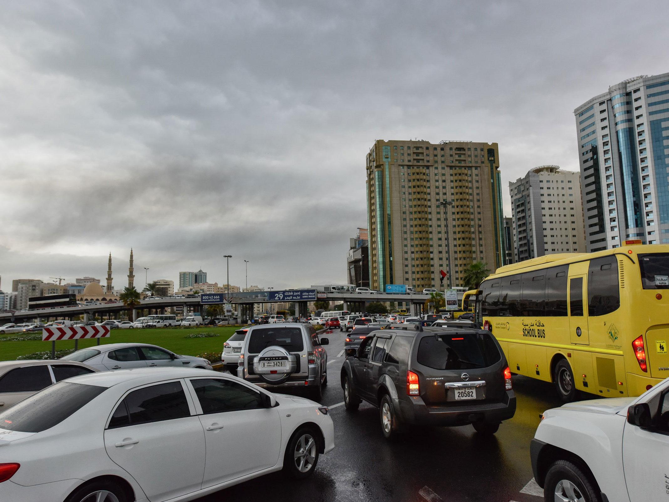 rain causes havoc on uae roads, traffic accidents