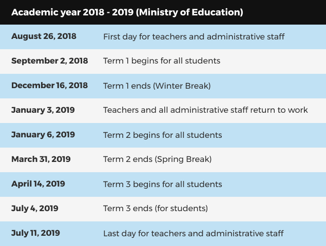 Official Uae School Calendar For 2018 19