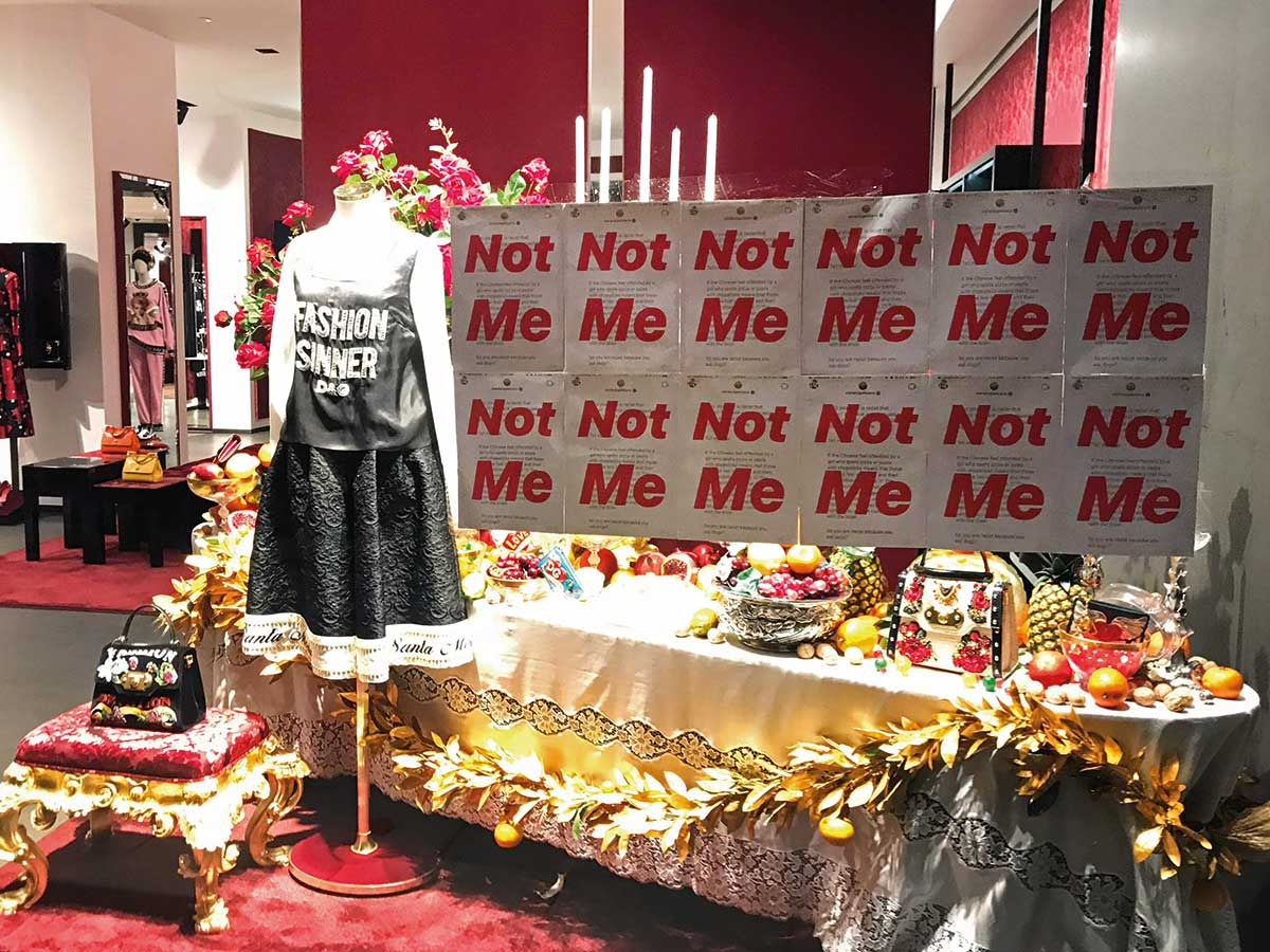 d5aaca18a4 A protest banner on the window of a Dolce   Gabbana store in Shanghai.  Image Credit  AFP