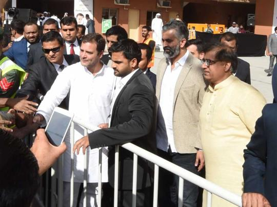 India's Congress party president Rahul Gandhi addresses workers, business leaders in Dubai