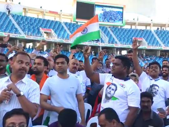 India's Congress party president Rahul Gandhi addresses expatriates in Dubai