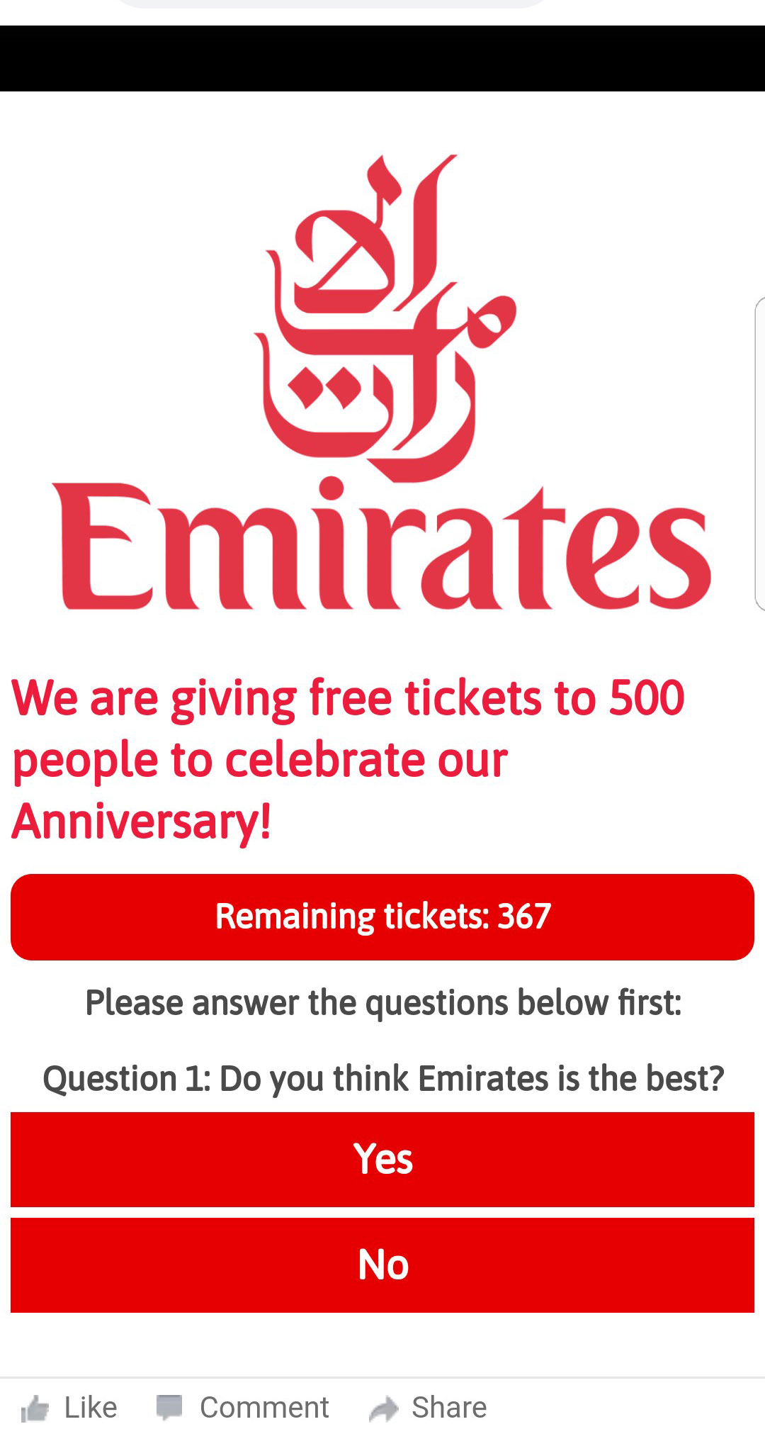 emirates giving free tickets new year