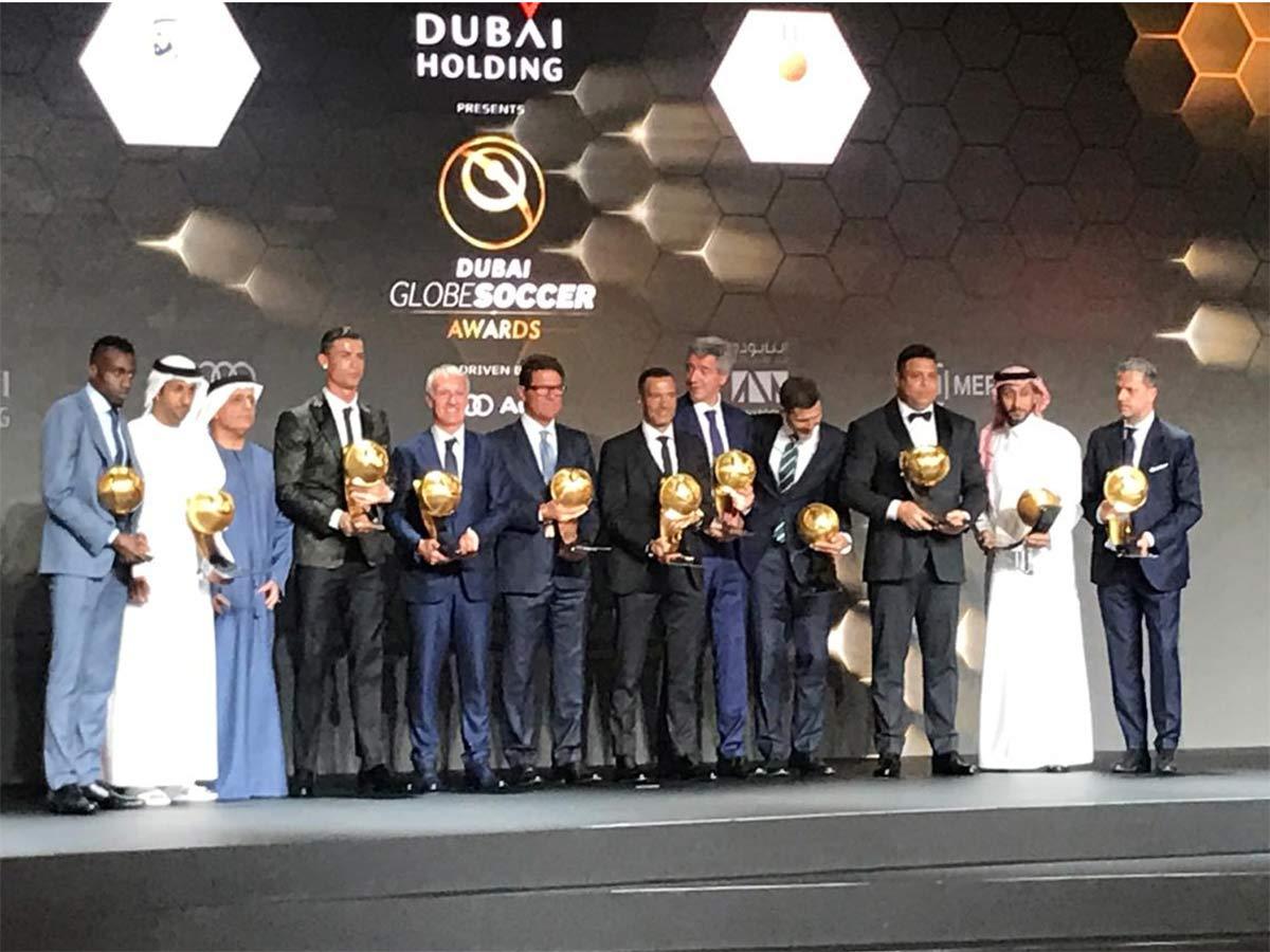 cristiano ronaldo bags two globe soccer awards