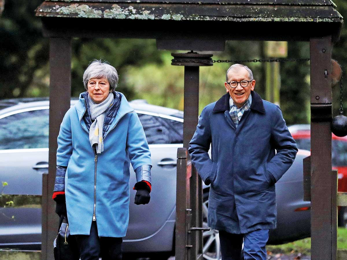 713d69f7f54a Britain s Prime Minister Theresa May and her husband Philip at a church
