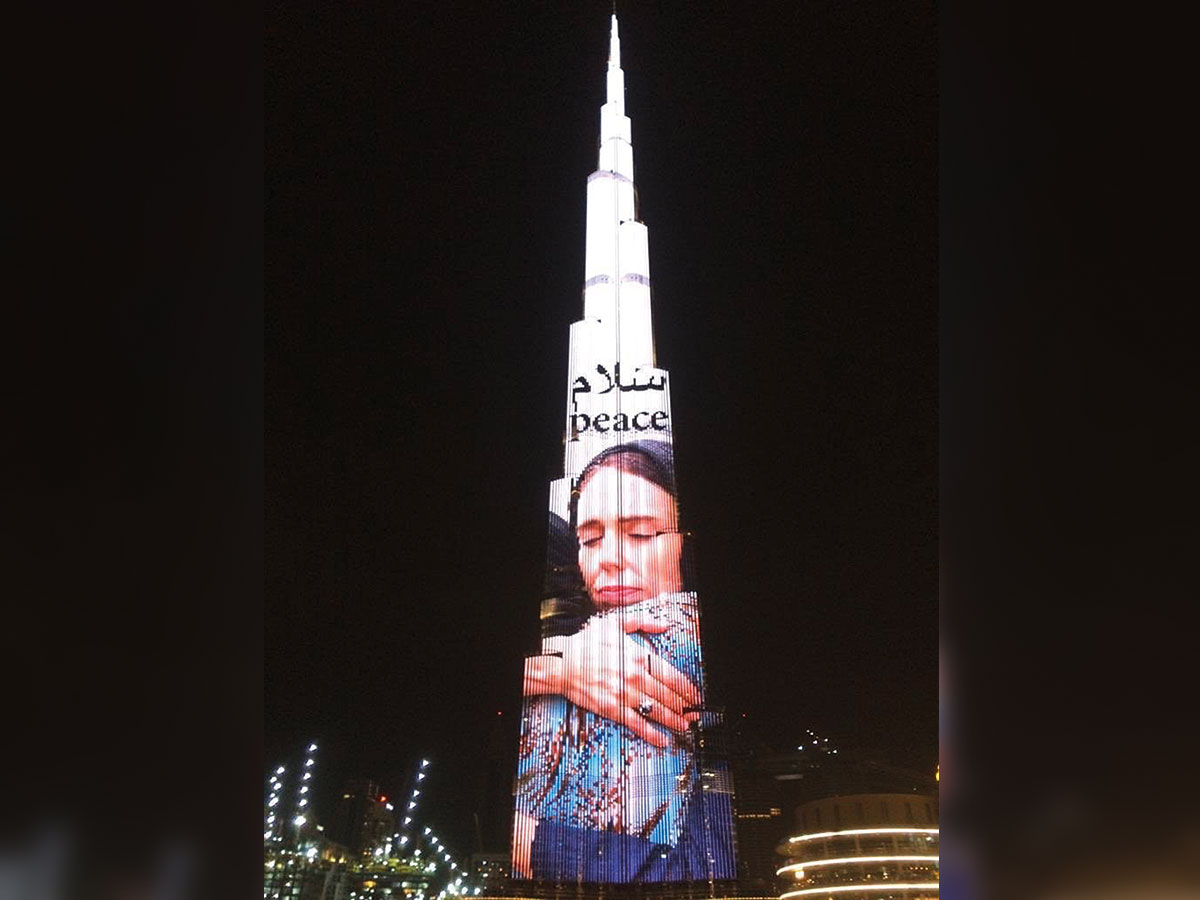 Image result for Dubai's Burj Khalifa pays tribute to NZ mosque attack victims