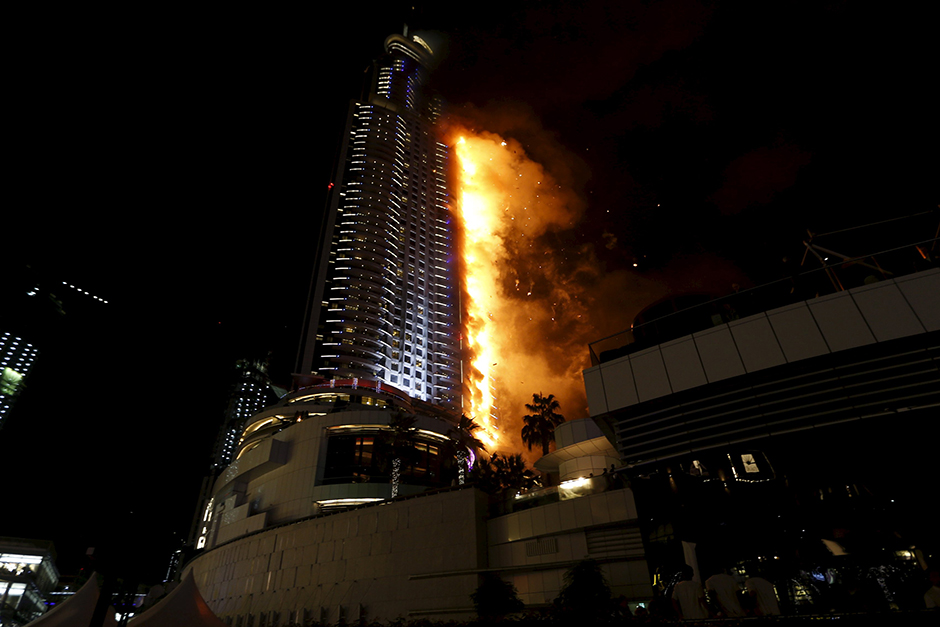 a fire engulfs the address hotel in downtown dubai image credit reuters
