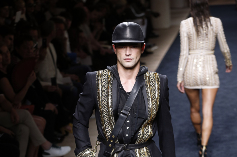 b723ed6b8695 A model presents a creation for Balmain during the men s 2016 Spring Summer  collection fashion show on June 27