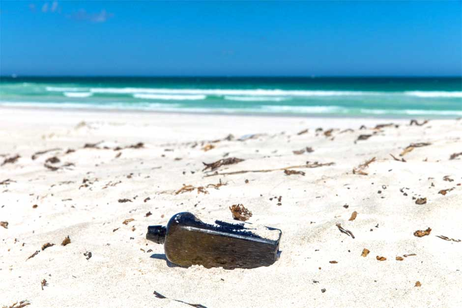 text message or letter in a bottle